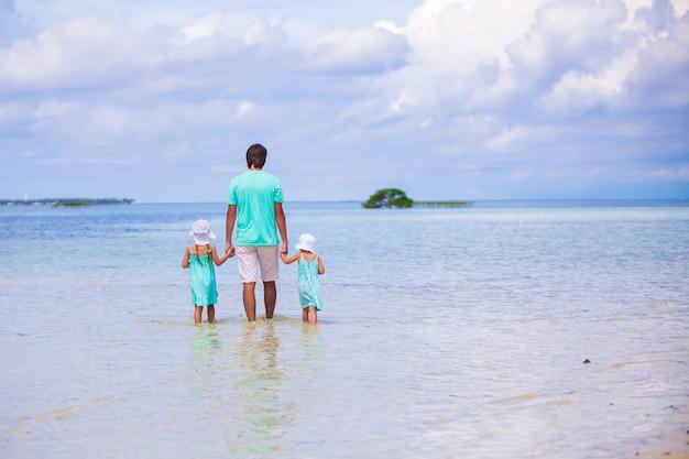 Vue arrière d'adorables petites filles et jeune père marchant sur une île exotique