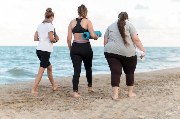 Vue arrière des amis marchant sur le rivage