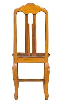 Vue arrière d'une chaise en bois isolée sur blanc avec un tracé de détourage
