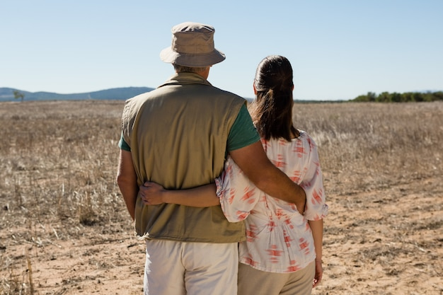Vue arrière, de, couple, sur, paysage