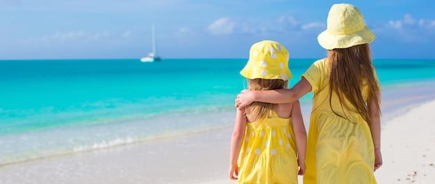 Vue arrière de deux petites filles sur une plage tropicale