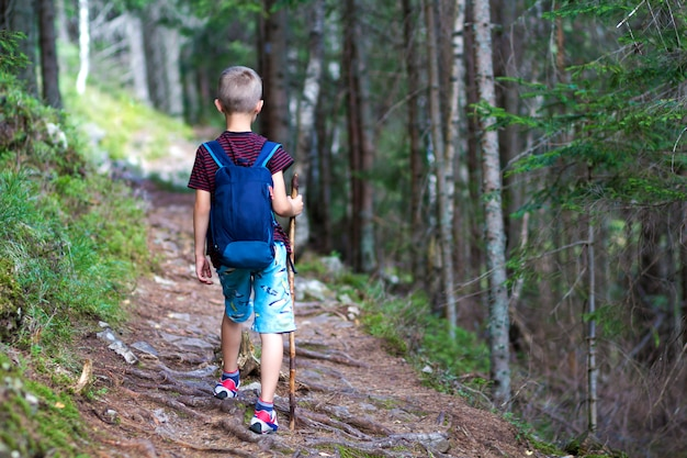 Vue arrière du garçon avec sac à dos randonneur et bâton de voyage