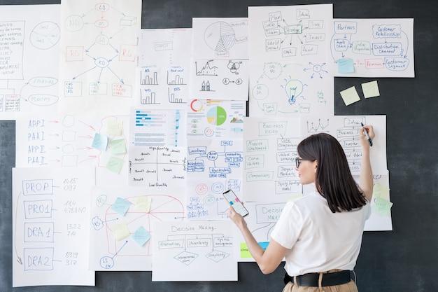 Vue arrière du jeune courtier féminin élégant avec smartphone expliquant les graphiques avec des données financières sur des papiers accrochés au tableau noir