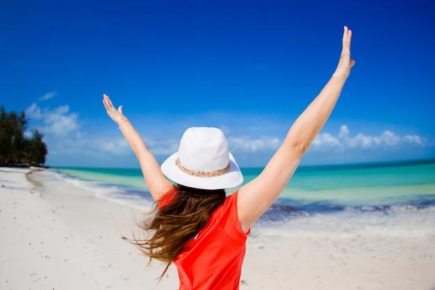Vue arrière de la femme au chapeau sur la plage blanche