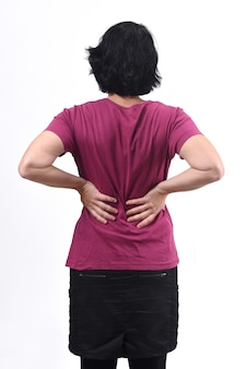 Vue arrière, de, femme douleur, dos, blanc