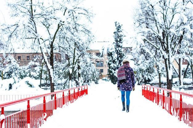 Vue arrière d'une femme marchant dans un parc de la ville lors d'une chute de neige.