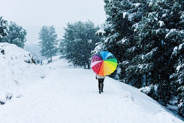 Vue arrière d'une femme avec un parapluie coloré marchant sur un paysage de montagne.