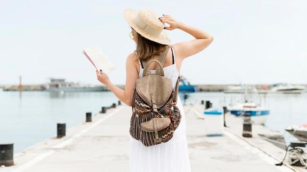 Vue arrière femme portant un sac à dos
