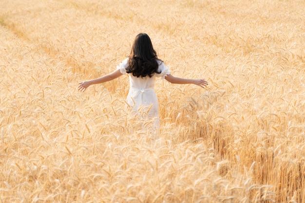Vue arrière de la jeune femme aux cheveux longs en robe blanche waling seul dans le champ d'orge de couleur dorée