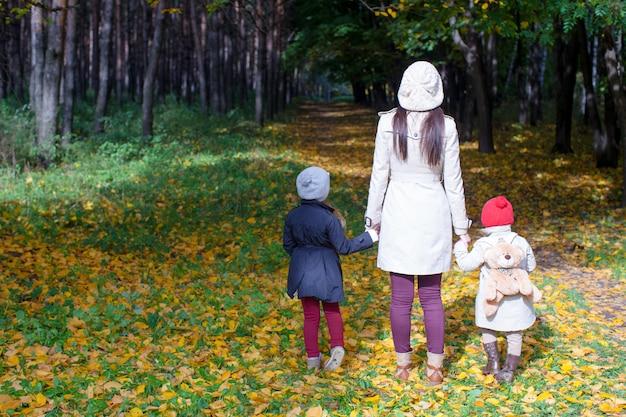 Vue arrière de la jeune mère et ses mignonnes petites filles marchant sur le pré de l'automne à la journée ensoleillée