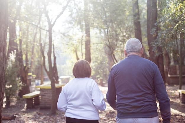 Vue arrière de la retraite couple marchant au coucher du soleil dans le parc
