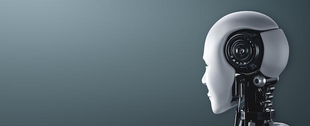 Vue arrière de la tête de robot humanoïde ai