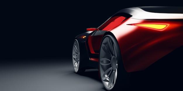 Vue arrière de la voiture de sport rapide futuriste à la lumière du studio. concept de voiture sans marque. illustraiton 3d