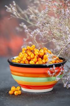 Vue avant de l'argousier dans un bol branche de fleurs séchées sur une surface rouge foncé