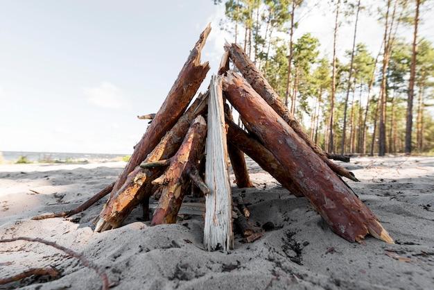 Vue avant du bois pour feu de camp