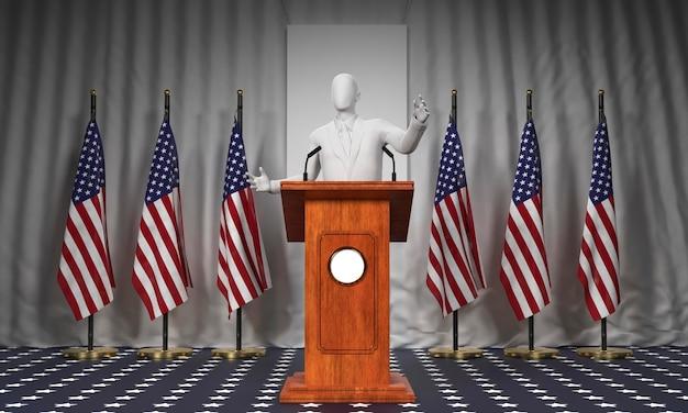 Vue avant du podium avec candidat aux élections américaines