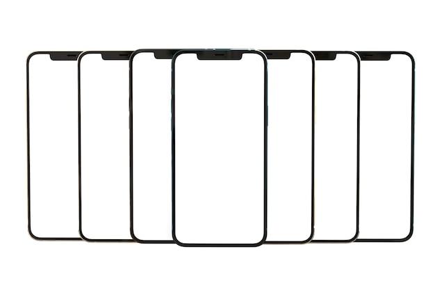 Vue avant écran blanc blanc smartphone sans cadre moderne