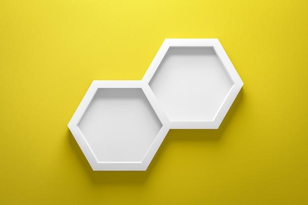 Vue avant de l'étagère vide et du cadre hexagonal sur un mur jaune vif