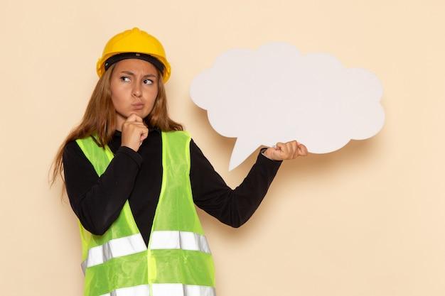 Vue avant femme constructeur en casque jaune tenant une pancarte blanche pensée sur mur blanc femelle