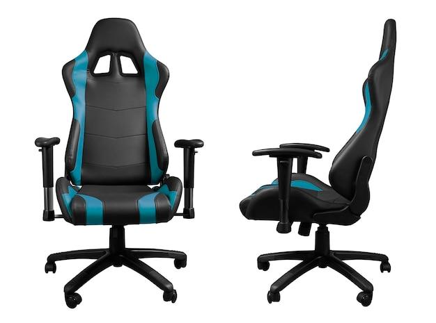 Vue avant et latérale du fauteuil de jeu en cuir noir et bleu isolé