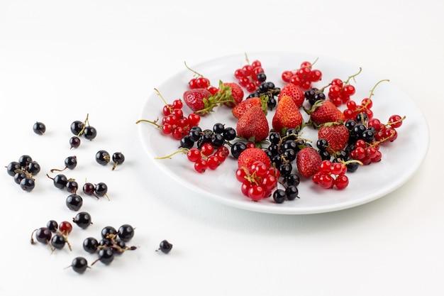 Vue avant de la plaque avec des fraises fraîches et moelleuses avec des myrtilles sur la surface blanche