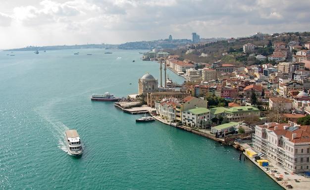 Vue sur la baie de la corne d'or, la vieille ville et les mosquées musulmanes contre le ciel bleu sans nuages au coucher du soleil. heure d'or. la navigation. turquie. istanbul