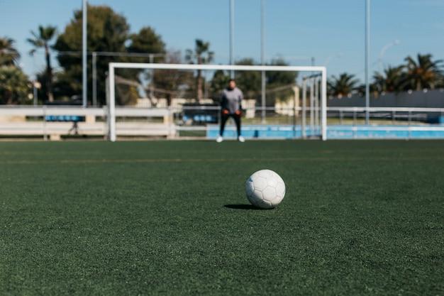 Vue de la balle regardant vers le but