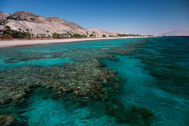 Vue sur la barrière de corail et la plage dans le golfe d'eilat, israël, mer rouge
