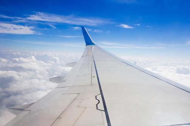 Vue, de, beau, nuage, et, aile d'avion, depuis, fenêtre