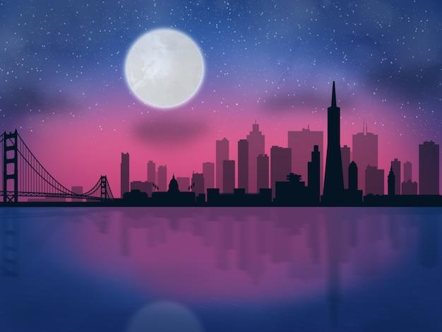 Vue de beaux reflets skyline wallpaper premium