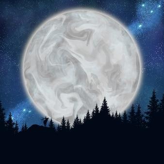 Vue sur la belle grande lune et les étoiles