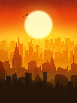 Vue de la belle prime de fond d'écran de la ville au coucher du soleil