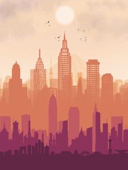 Vue de la belle ville coucher de soleil wallpaper