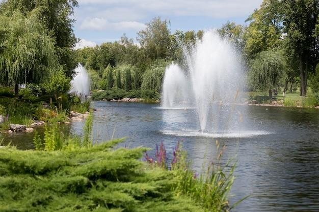 Vue sur de belles fontaines sur le lac dans le jardin formel