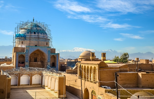 Vue sur le centre historique de yazd - iran