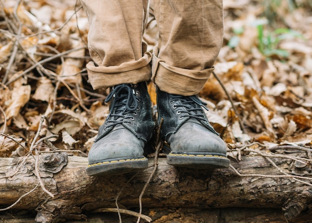 Vue, chaussures, homme, nature