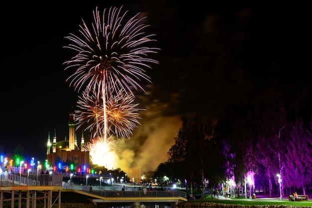 Vue sur le ciel nocturne et de beaux feux d'artifice explosant dans la ville