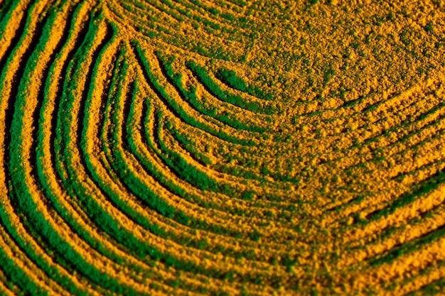 Vue circulaire de formes de sable circulaires