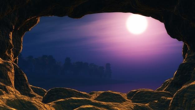 Vue d'une conception de la grotte