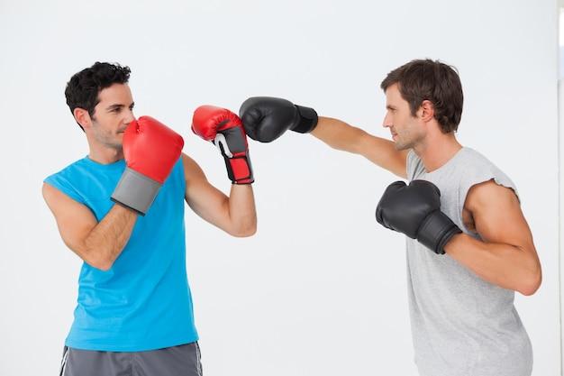 Vue de côté de deux boxeurs masculins pratiquant