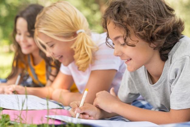 Vue côté, enfants, dans parc, écriture