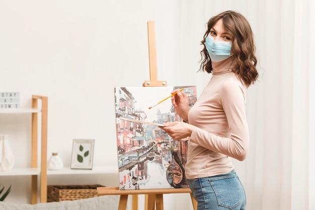 Vue côté, femme, peinture