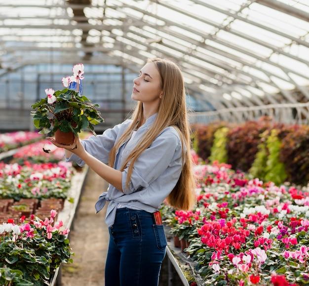 Vue côté, femme vérifiant, pot fleur
