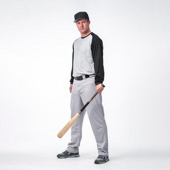 Vue côté, de, joueur baseball, porter, casquette