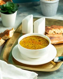 Vue de côté soupe au poulet avec pain tandoor sur un plateau