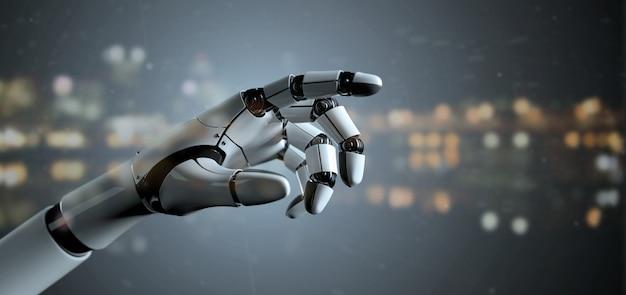 Vue d'un cyborg à la main d'un robot