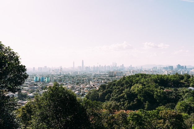 Vue depuis une colline avec des arbres d'une ville avec des gratte-ciel