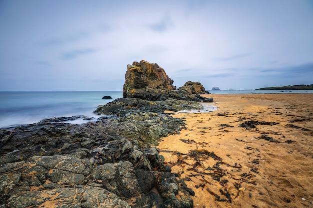 Vue depuis la plage de yellowcraigs sur bass rock, north berwick, en écosse. grande bretagne
