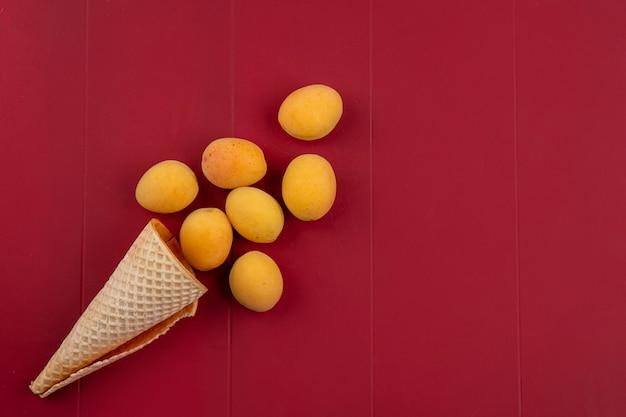 Vue de dessus des abricots avec cornet gaufré sur une surface rouge