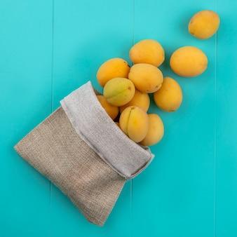 Vue de dessus des abricots dans un sac de jute sur une surface bleue